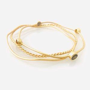 3 Piece Gold Wavy Bracelet Set